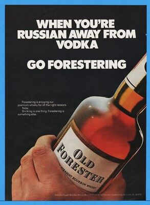 1974 Old Forester Whiskey Brown Forman Distillers Louisville KY Bottle Russia Ad