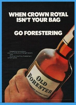 1974 Old Forester Whiskey Brown Forman Distillers Louisville KY Bottle Crown Ad