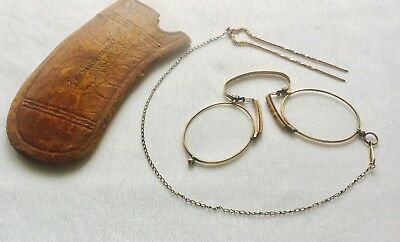 ANTIQUE GOLD Tone Spring Bridge PINCE Nez SPECTACLES w/ Hair Chain & Slide Case