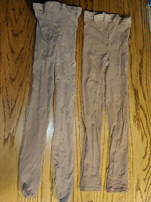 """Lot Of 2 Pairs Of """"capezio"""" Girls Beige Ballet Tights (Great For Practice)"""