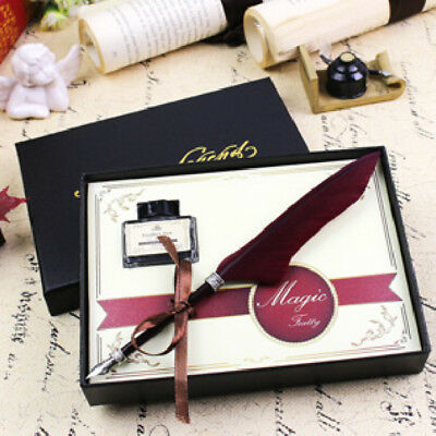 21 x 0.5cm Feather Quill Metal Nib Brown Dip Pen Writing Ink Set With Box Gift
