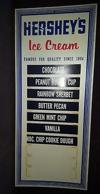 VINTAGE Hershey's Ice Cream Store Parlor Menu Sign Flavor Board