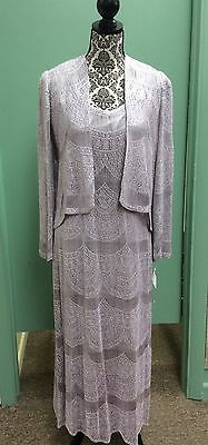 NWT Vtg Damianou Lavender Fringed Detail Jacket and Gown 2 Piece Size SMALL $599