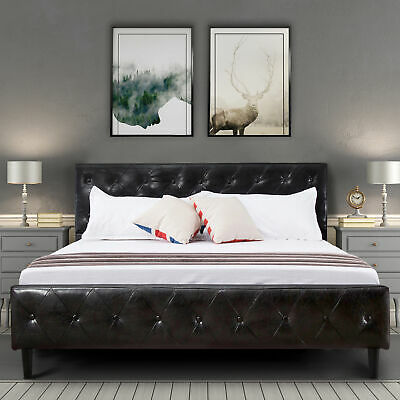 Queen Size Black Pu Leather Bed Frame Button Tufted Upholstered