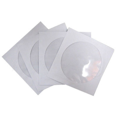 10/20/50PCS CD DVD Paper Flap Sleeves Clear Window Case Cover Envelope White