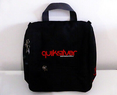 "QUIKSILVER 9.5"" black unisex HANGING TRAVEL ORGANISER TOILETRY BAG compartment"