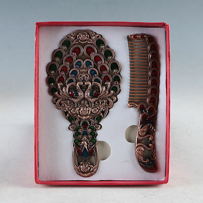 A Set Of Exquisite Chinese Cloisonne Handmade Peacock Pattern Mirror&Comb JZ1001