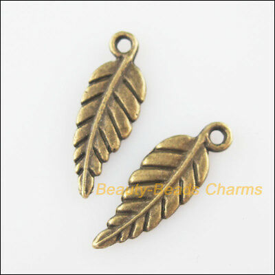 18 New Charms Tiny Leaf Feather Antiqued Bronze Tone Pendants 6.5x19mm