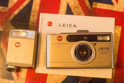 Leica Minilux Zoom Date 35mm Rangefinder Film Camera with flash and instructions