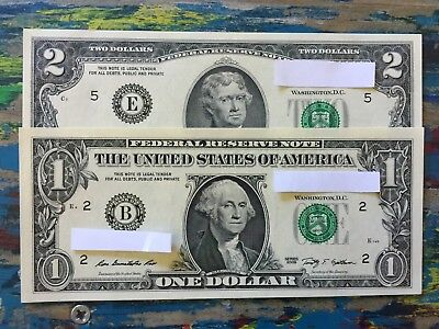 US $1 & $2 BILL One + Two Dollar Notes USA MINT UNCIRCULATED UNC NEW SET