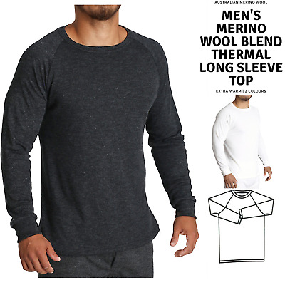 Men's Merino Wool Blend Long Sleeve Thermal Top Underwear Thermals Base Layer