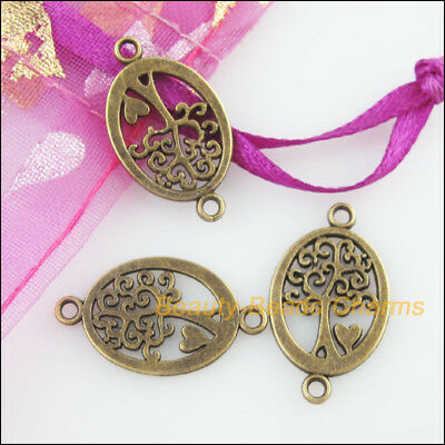 16 New Charms Oval Tree Antiqued Bronze Tone Pendants Connectors 13x23mm