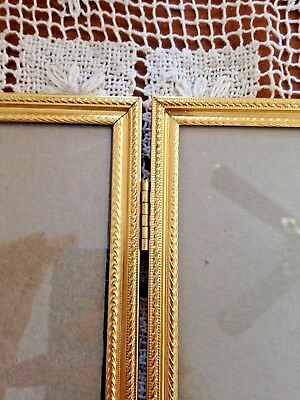 Vintage Solid Brass Double Hinged Rope Edge Design Picture Frame 8 X 10