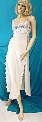 Vtg Flora Nikrooz White Long Silky Satin Thick Lace Mesh Back Bridal Nightgown-S