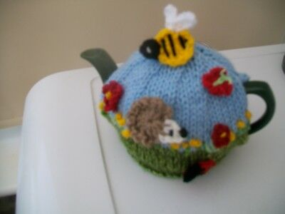 Hand Knitted Hedgehog  Tea Cosy For A Small Teapot 1/2 Cup Size