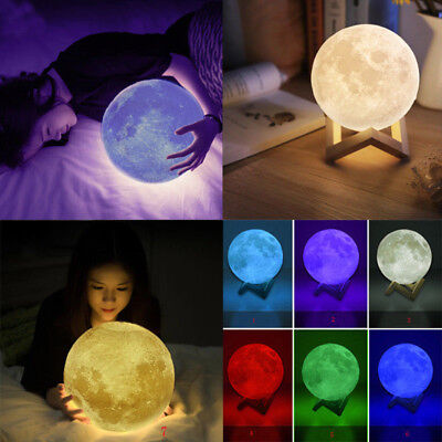 3D Printing LED Moon Lamp Touch Switch Light Home Decor Gift USB Rechargeable