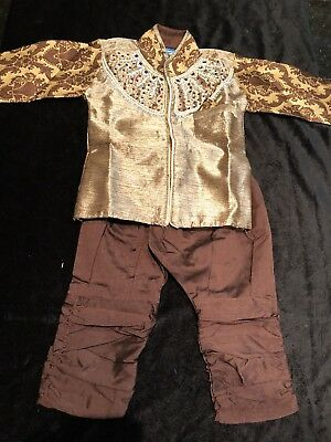"""16"""" Size 0 To 6 Months Age Boys Kurtha Indian Sherwani Party Suit Brown Gold Y4"""