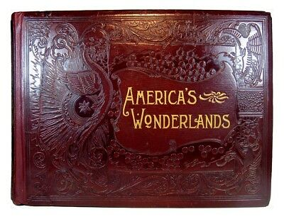 ANTIQUE AMERICAN PHOTO BOOK Railroad INDIANS National Parks OLD WEST Travel U.S.