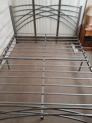king size metal bed frame silver
