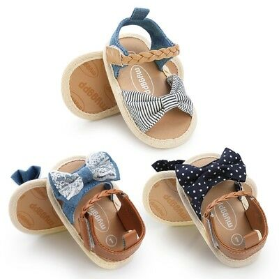 Summer Baby Girls Bow Sandals Soft Sole Crib Shoes Anti-slip Toddler Prewalkers