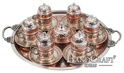 Hand Made Copper Turkish Coffee Set & Espresso Set & Tea Set for Six -(CS6-120)