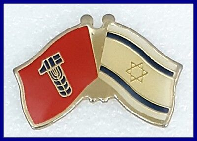 The flag of the Histadrut and the national flag of Israel lapel pin