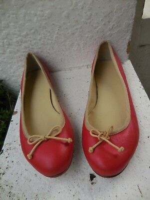 Country Road Red  + Leather Ballet Flats 40 9 Vgc