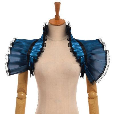 Victorian Steampunk Jabot Collar Vintage Blue Lace Necklace Shawl Choker Collar