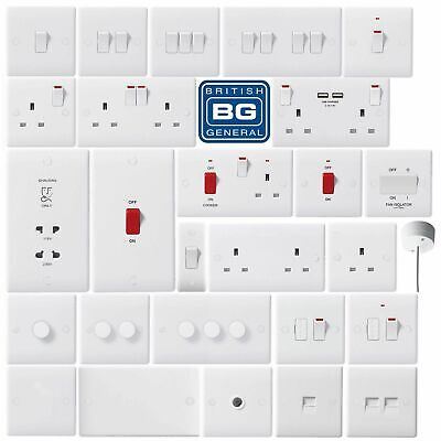 BG Wiring Devices - Nexus White Moulded Light Switches & Plug Sockets