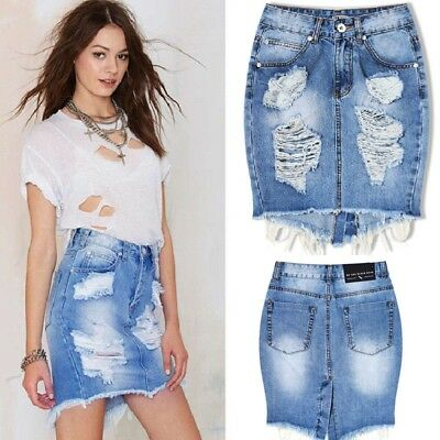 Womens Celeb Ripped Frayed Stretch Bodycon High Waist Jean Denim Skirt 6-16 UK