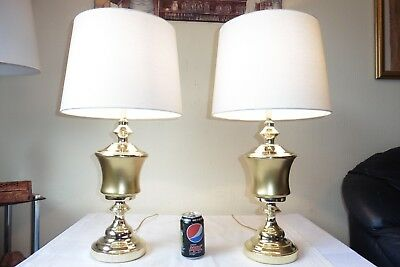 Large Pair Of Vintage Gilt Glass And Brass Table Lamps With New Shades
