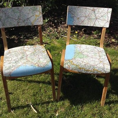 A Pair of Mid Century Wooden Stacking School Chairs Vintage French Map Detail