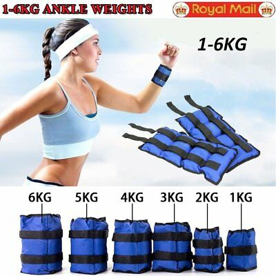 Ankle Weights 1kg-6kg Leg Wrist Strap Running Fitness Gym Training Exercise UK