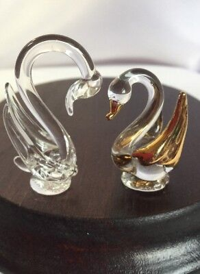 Miniature Hand Blown Glass Swans