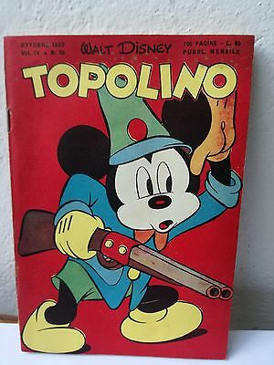 TOPOLINO N. 20 vol. 4 OCTOBRE 1950 excellent + timbre Walt Disney Mickey Mouse