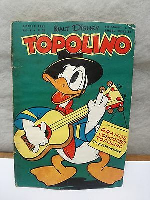 TOPOLINO N. 26 vol 5 AVRIL 1951 excellent + timbre Walt Disney Mickey Mouse
