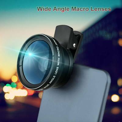 2 in 1 0.45x Wide Angle + Macro Clip On Camera Lens for Mobile Phone Tablet