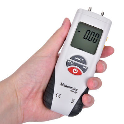 Manometer LCD Digital Air Pressure Meter Differential Gauge ±2Psi Gas Tests Tool
