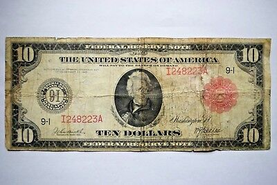 RARE 1914 $10 Red Seal Ten Dollar Federal Reserve Bank Note Minnesota