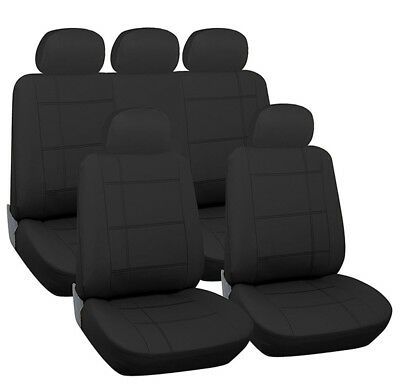 LUXURY BLACK FAUX LEATHER SEAT COVER SET for MORRIS MINOR 1969 ON