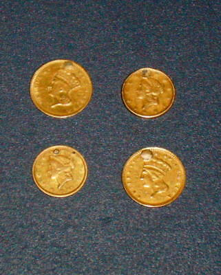 Four 1849 1853 1856 1874 GOLD DOLLAR Type 1 & lll Liberty Princess Head Lot # 2