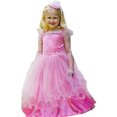 Kids Girls Pink Fairytale Royal Princess Ball Gown Fancy Dress Costume & Tiara