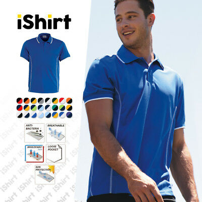 Mens Polo Shirt 100% Polyester Cool Dry Breathable Stitch Essentials Polo
