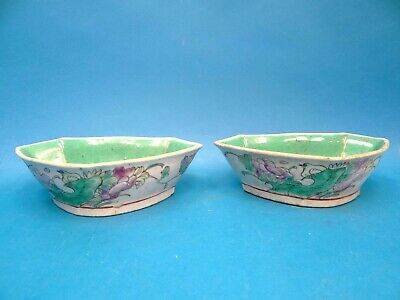 Antique Old White Green Signed Chinese Qing Dynasty Butterfly Small Bowls Dishes