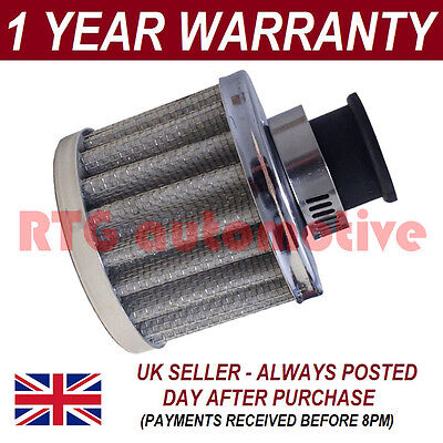12mm AIR OIL CRANK CASE BREATHER FILTER FITS MOST CARS SILVER ROUND