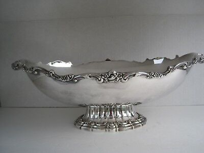 Vintage Larger Fancy Scrolled  Silverplate Compote Trophy Centerpiece Bowl