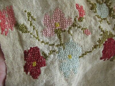 Antique Hand Woven & Embroidered Rustic Center Seam Tablecloth, Mends But Fab!