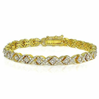 18K Gold Plated Lab Diamond Miracle Set X Tennis Bracelet in Brass 1