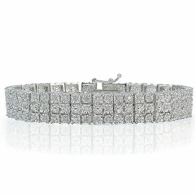 Sterling Silver Tone Natural Set 3-Row Tennis Bracelet Lab Diamond in Brass 3