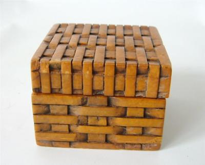 "Vintage Hand Carved Shoushan Stone Trinket Box Woven Faux Rattan 2 "" Brown"